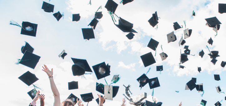 Graduate hat toss