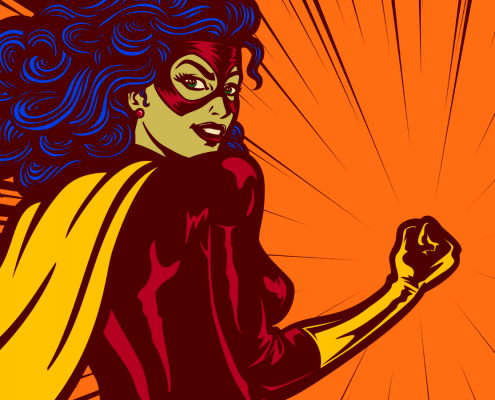 Superhero, strong confident communicator